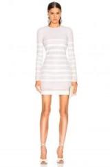 BALMAIN Sequin Stripe Long Sleeve Mini Dress in WHITE & NATURAL   glamorous sequinned party dresses