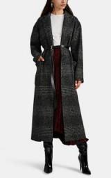 BARNEYS NEW YORK Plaid Wool-Blend Belted Coat – chic longline coats
