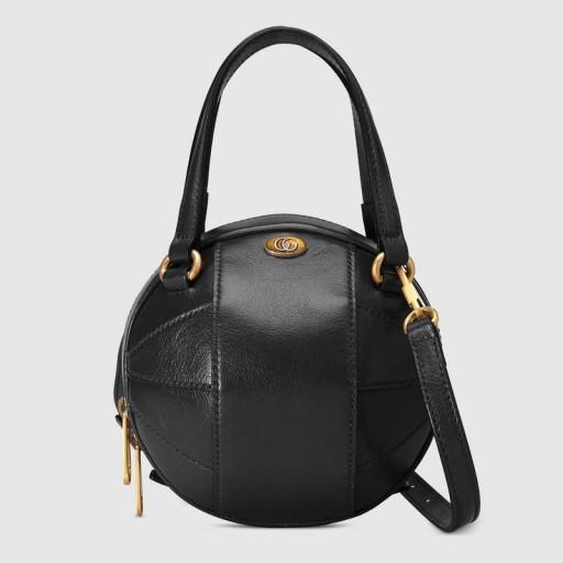 GUCCI Basketball shaped black leather mini shoulder bag