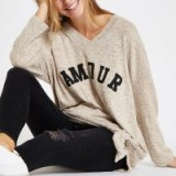 RIVER ISLAND Beige 'Amour' V neck tie front sweatshirt – sporty slouch top