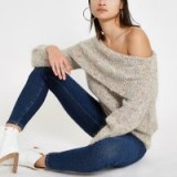 River Island Beige Luxe knit speckled bardot jumper | neutral off the shoulder sweater
