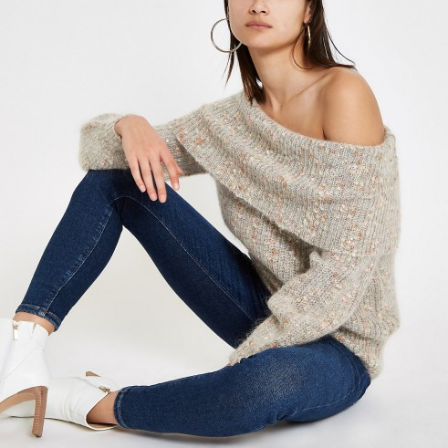 River Island Beige Luxe knit speckled bardot jumper | neutral off the shoulder sweater