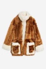 TOPSHOP Beige Shearling Jacket – fluffy brown tone jackets