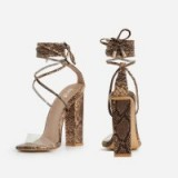 EGO Bello Perspex Lace Up Block Heel In Nude Snake Print Faux Leather – high strappy sandals
