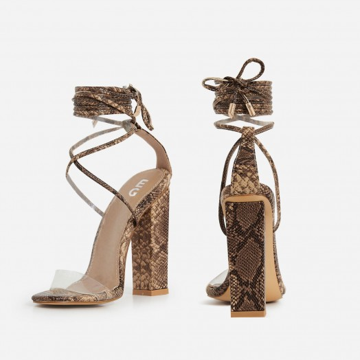 1ddc1531a9f EGO Bello Perspex Lace Up Block Heel In Nude Snake Print Faux Leather –  high strappy