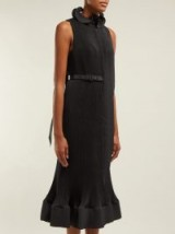 TIBI Black belted plissé midi dress – chic lbd