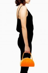 Topshop Betsy Moon Velvet Grab Bag in Orange | small chic handbag