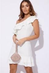 BILLIE FAIERS WHITE ASYMMETRIC DOUBLE FRILL MINI DRESS – one shoulder party dresses