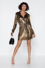 NASTY GAL Billie Jean Metallic Dress in Gold