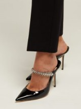 JIMMY CHOO Bing 100 crystal-embellished black patent leather mules