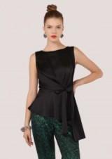 Closet Black Asymmetrical Tie Front Top – chic partywear