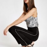 RIVER ISLAND Black diamante trim wide leg trousers – side embellished party pants