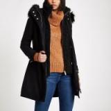 RIVER ISLAND Black faux shearling double layer coat – warm & stylish winter coats