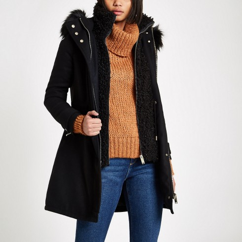 RIVER ISLAND Black faux shearling double layer coat – warm & stylish winter coats
