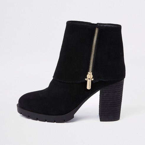 RIVER ISLAND Black fold down ankle boots