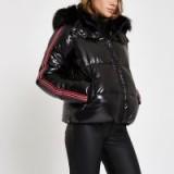 RIVER ISLAND Black high shine faux fur taped puffer jacket – shiny winter jackets