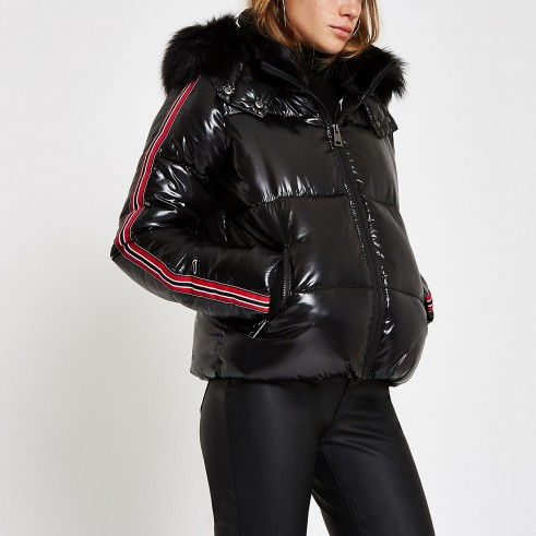 RIVER ISLAND Black high shine faux fur taped puffer jacket – shiny winter jackets