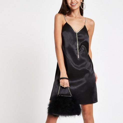River Island Black satin chain strap slip dress | glamorous LBD