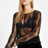RIVER ISLAND Black sequin mesh long sleeve top | sheer party blouse