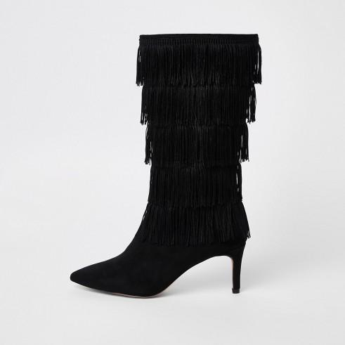 RIVER ISLAND Black tassel high leg boots – fringed boho boot
