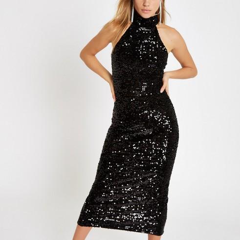 RIVER ISLAND Black velvet sequin bodycon midi dress / sparkling party dresses