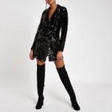 RIVER ISLAND Black velvet sequin tux dress – glittering blazer dresses