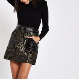 RIVER ISLAND Black vinyl jacquard belted mini skirt – luxe style party skirts