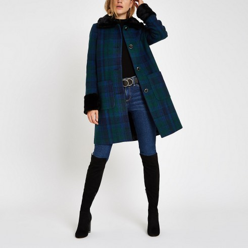 RIVER ISLAND Blue check button faux fur trim swing coat – cute winter coat