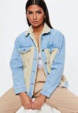 MISSGUIDED blue denim oversized teddy body denim jacket – casual style