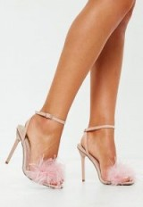 MISSGUIDED blush feather barely there heeled sandals – pink feathered party heels
