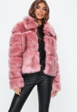 MISSGUIDED blush premium faux fur cropped jacket – fluffy pink jackets