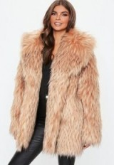 MISSGUIDED blush tipped premium faux fur collar coat – chunky winter coats