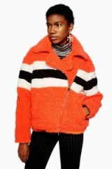 TOPSHOP Orange Borg Biker Jacket