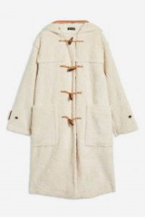 TOPSHOP Borg Duffle Coat in Cream – luxe style winter coats – neutrals