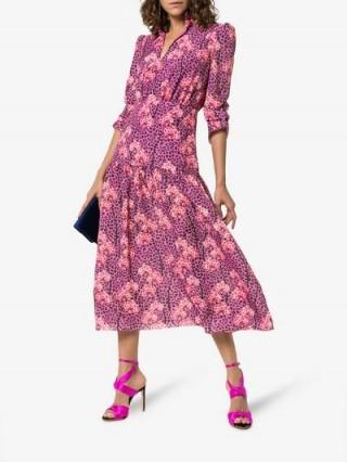 Borgo De Nor Purple Eugenia Leopard Orchid Print Midi Dress