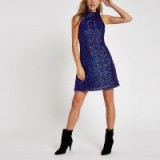 RIVER ISLAND Bright blue sequin sleeveless swing dress / shimmer party dresses