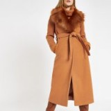 RIVER ISLAND Brown belted faux fur robe coat – warm winter coats