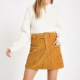 RIVER ISLAND Brown cord belted mini skirt – retro corduroy fashion