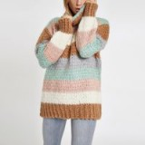 River Island Brown knit stripe oversized roll neck jumper | chunky sweaters