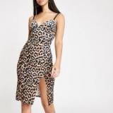 RIVER ISLAND Brown leopard print bodycon midi dress