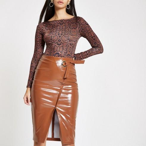 RIVER ISLAND Brown peyton wrap vinyl pencil skirt / high shine skirts