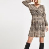 RIVER ISLAND Brown plisse snake print waisted mini dress