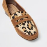 River Island Brown suede leopard print studded loafers | casual glamour