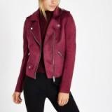 River Island Burgundy faux suede biker jacket | winter jewel tone colours