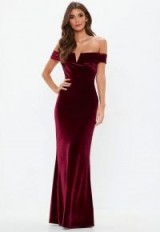 MISSGUIDED burgundy velvet maxi dress- long statement party fashion