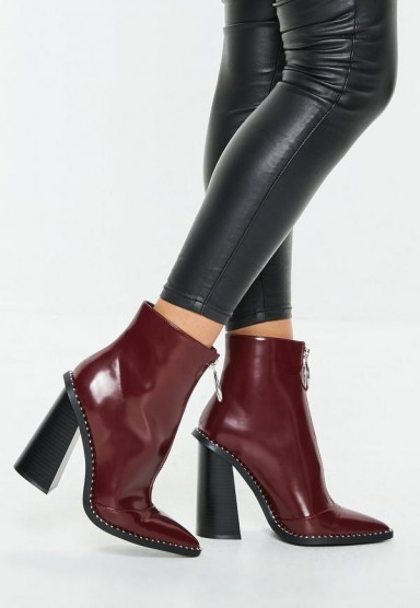 MISSGUIDED burgundy zip front ring pull boots – high block heel ankle boot