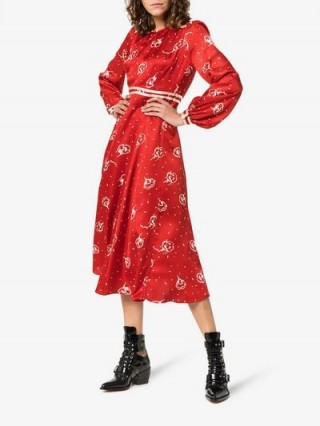 By Timo Red Floral Print Midi Dress