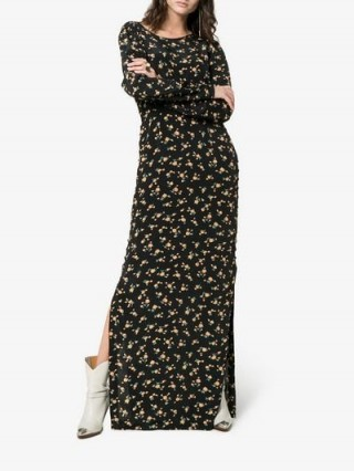 By Timo Maxi Floral Print Dress in Black and Yellow
