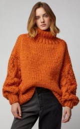 I Love Mr. Mittens Cable Knit Wool Sweater in Orange | bright chunky knitwear