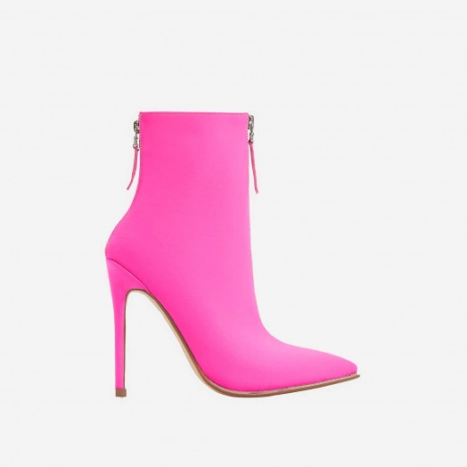 EGO Cadee Diamante Detail Ankle Sock Book In Fuchsia Pink Lycra – sassy double zip booties